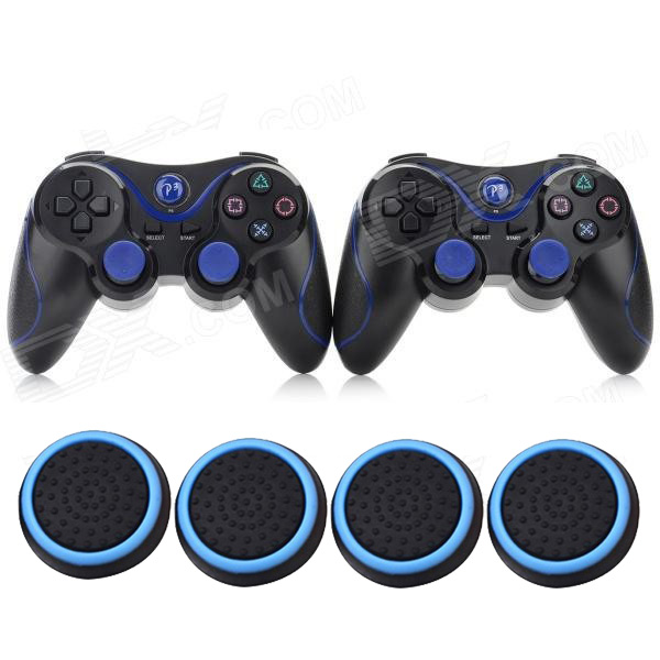 2x Double Shock Wireless Bluetooth V4.0 Controller Sixaxis Joypad Gamepad +4x Joystick Thumb Stick Caps For Sony PS3/ PS3 Slim
