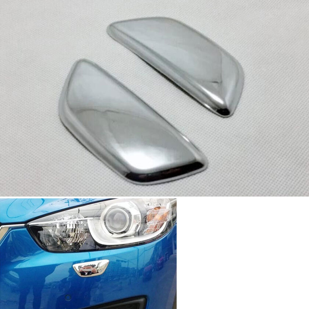 2Pcs ABS Car Front Headlights Lamp SRA Cover Decoration Trim Washer Spray Nozzle Sequin Fit For <font><b>Mazda</b></font> <font><b>CX5</b></font> <font><b>2015</b></font> <font><b>Accessories</b></font> image