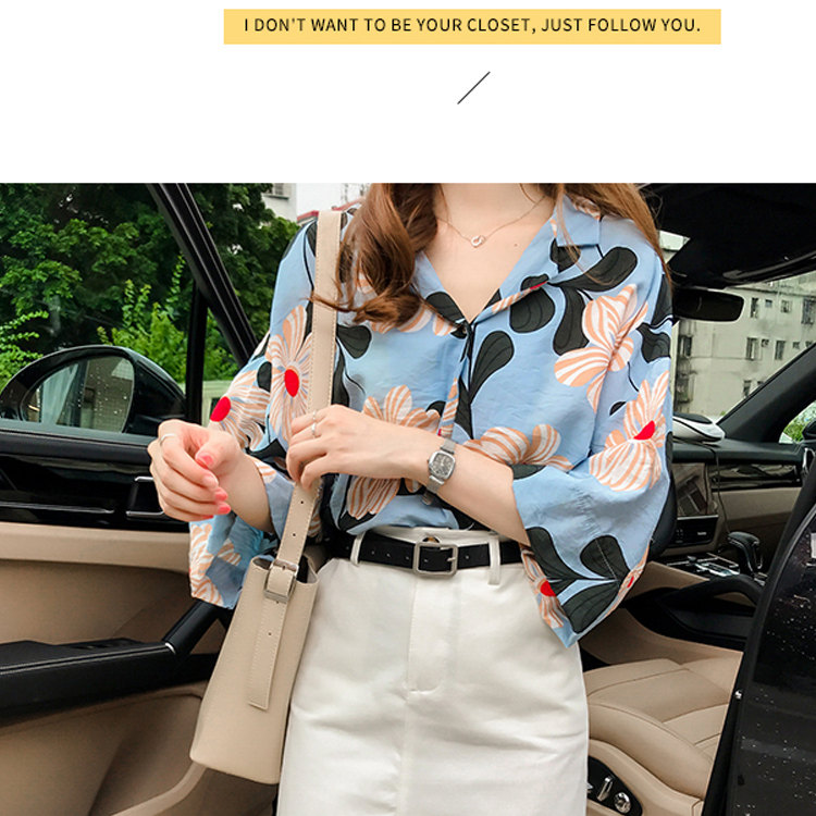 a1c588b43b91c ... Summer Tops Women Blouses 2019 New Chic Flower Shirt Casual Chiffon  Blusas Mujer Fashion Print Tops ...