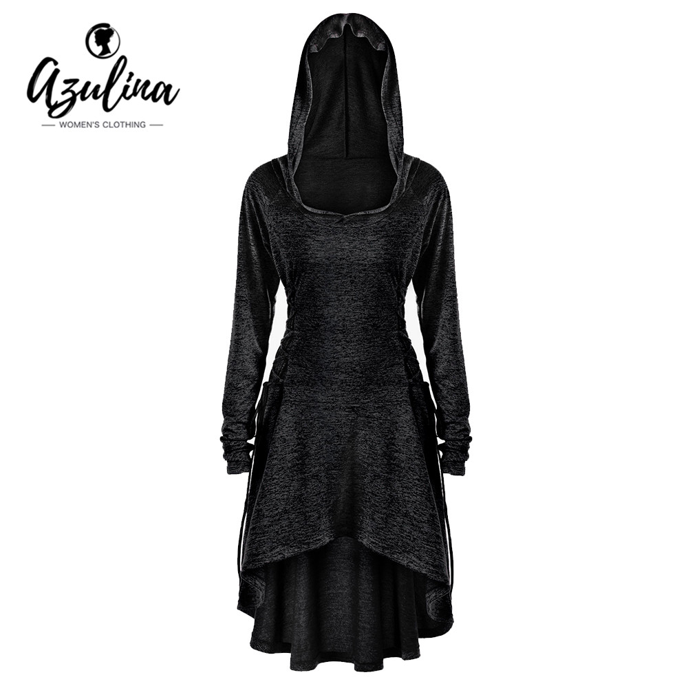 AZULINA Plus Size 5XL Hoodies Women Lace Up Dip Hem Hoodie Sweatshirt Autumn Casual Hooded