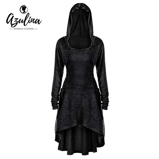 66276e6593d597 AZULINA Plus Size 5XL Hoodies Women Lace Up Dip Hem Hoodie Sweatshirt Autumn  Casual Hooded Pullovers Women Tops Big Size Clothes