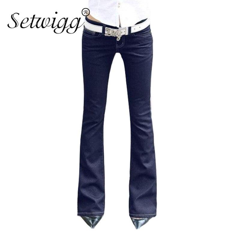 SETWIGG Womens Blue Denim Stretch Flare Long Jeans Bell Skinny Spandex Jean Trousers Woman Denim Pants For Slim Hip Women