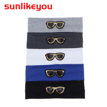 Sunlikeyou Toddler Turban Sequins Cartoon Glasses Cotton Elastic Newborn Hair Band Accessories Boys Girls Baby Headbands