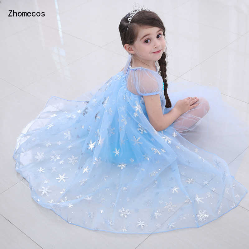b6bd1bec3e Girls Blue Queen Elsa Princess Costumes Cosplay with Cape for Kids Gift  Halloween Stage Party Dress