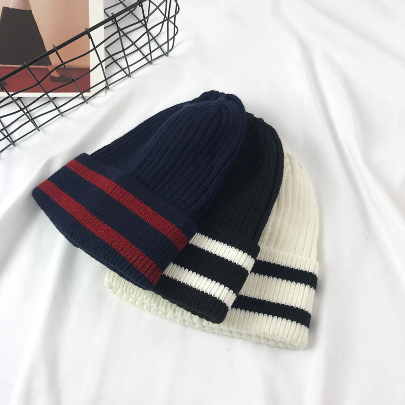 2c12e21c2fd2e 2018 Men s Skullies Hat Bonnet Winter Beanie Knitted Wool Hat Plus Velvet  Cap Thicker Stripe Skis Sports Beanies Hats for men