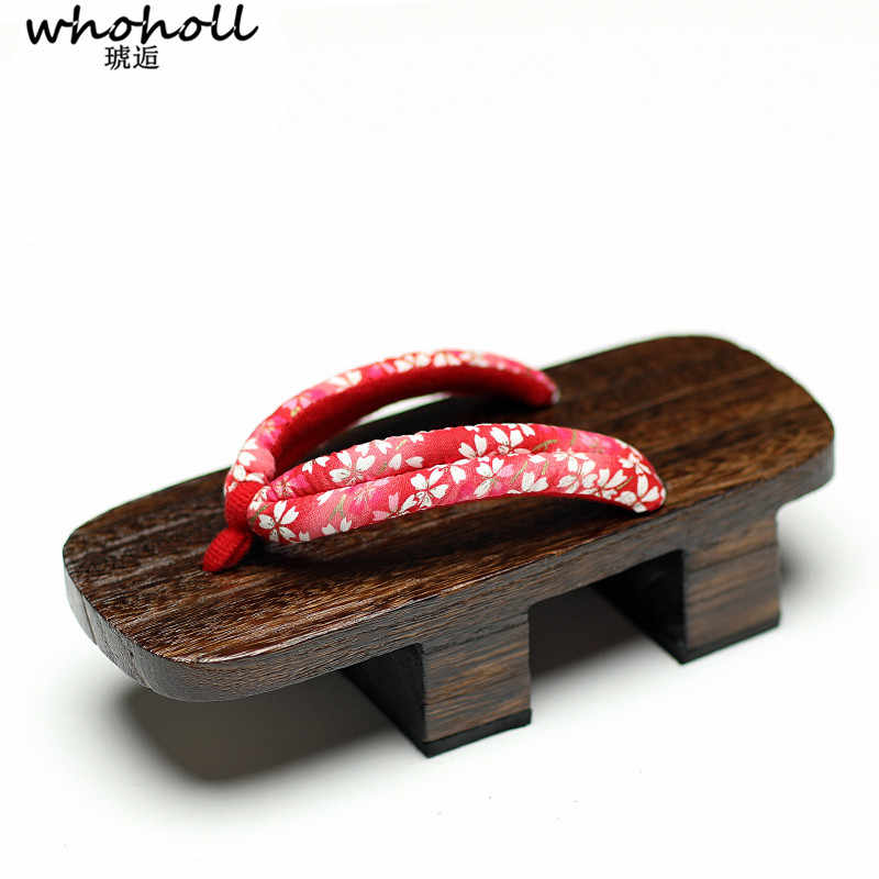 e01725c1933 WHOHOLL Geta Summer Sandals Women Clogs Japanese Geta Two-tooth Wooden  Slippers Cos Platform Floarl