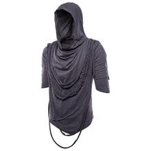 Men tassel irregular design punk rock hip hop t shirt nightclub DJ streetwear men gothic style hooded tee shirts swag clothes