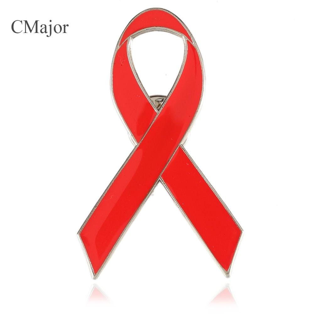 CMajor 2.5*4.8cm AIDS/HIV Cancer Awareness Enamel Red Ribbon Pin Badge Brooch For Women Transparent Plastic Gift Box 10pcs/lot