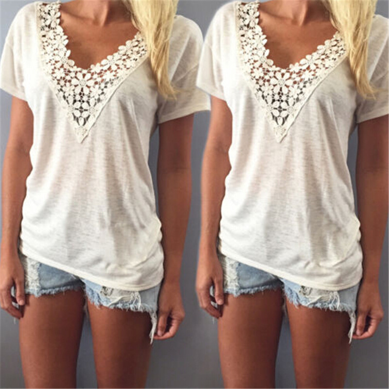 Sexy Fashion Women Summer Deep V Neck Thin Shirt Lace Neck Casual Loose Short Sleeve Blouse Tank Tops Shirt Hot Sale