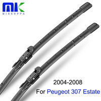 Car Wiper Blades For Peugeot 307 SW Estate 2004 2008 Front And Rear Windscreen Glass Frameless