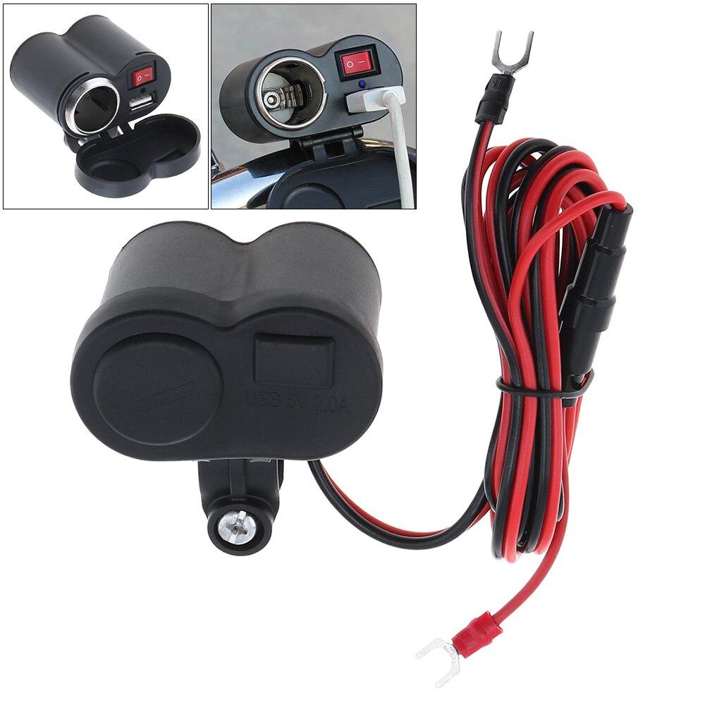 12V - 24V DC 5V 1.5A ABS Waterproof USB Power Motorcycle Charger Support Installation Cigarette Lighter Sensor Hot Sale