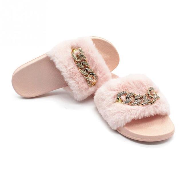Women Fur Slippers Fashion Diamante Chain Flip Flops Sandals Plush Warm Home Slippers Summer Comfortable Woman Flats Beach Shoes