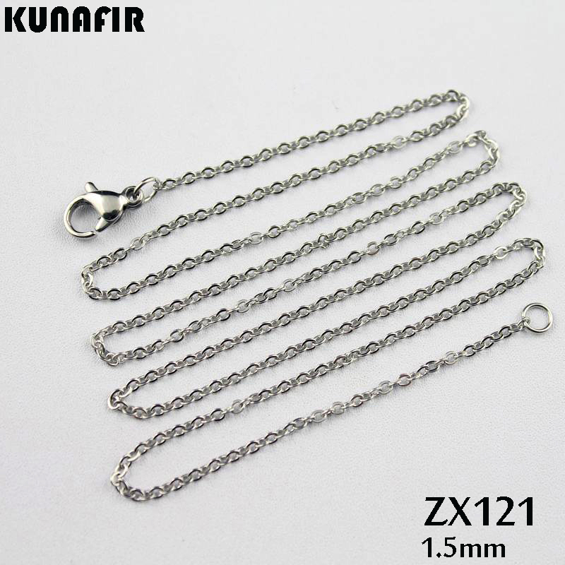 "16""-38"" length 1.5mm cross chain stainless steel necklace welding chain women girl fashion jewelry 10pcs-500pcs ZX121"