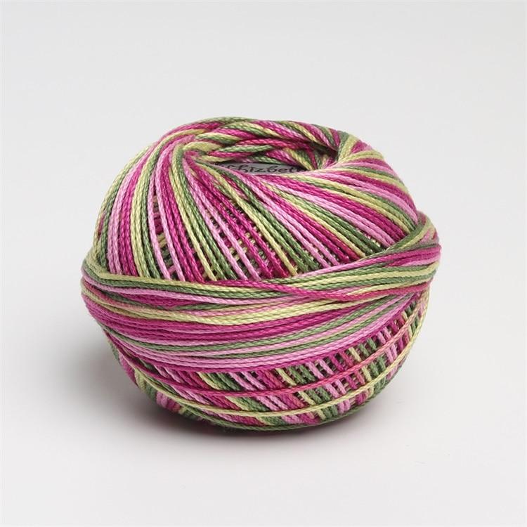 Размер 3 хлопок жемчуг пестрый 50 грамм мяч египетская длинноштапельная хлопковая пряжа газированная двойная мерсеризованная 6 нитей плетение - Цвет: 124