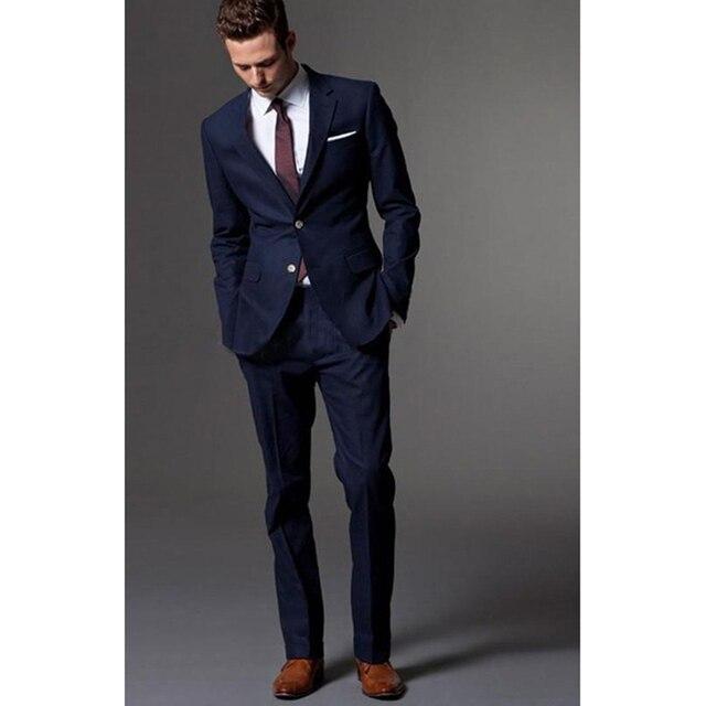 1fef18d214 US $49.97 27% di SCONTO Blu Navy costume homme smoking per gli uomini sposo  abito da uomo vestiti con pantaloni da sposa giacca e cravatta per gli ...