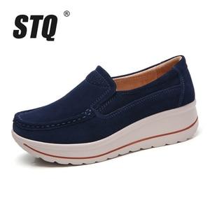 Image 2 - STQ 2020 Autumn Women Flats Shoes Platform Sneakers Shoes Leather Suede Platform Shoes Slip On Flats Creepers Moccasins 3507