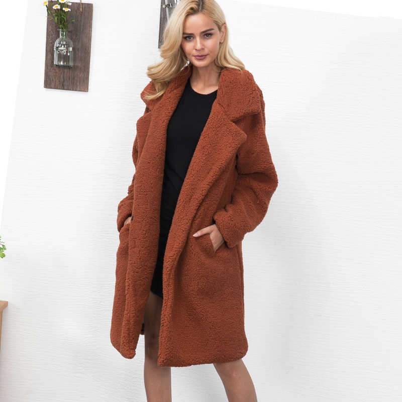 926a8d7357dd1 ... Women Faux Fur Teddy Coat 2019 Winter Spring Thick Warm Fluffy Long Fur  Coats Lapel Shaggy ...