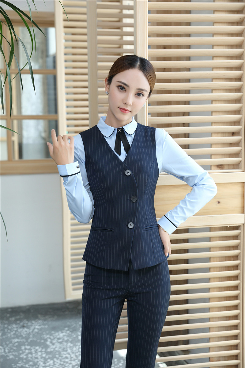 Veste 2018 Dames Wear Uniforme Nouveau Femmes Gilet Pantalon Bureau Noir Et Costumes Work Style Pièce 3 Conceptions Ensemble D'affaires FqwvR5q