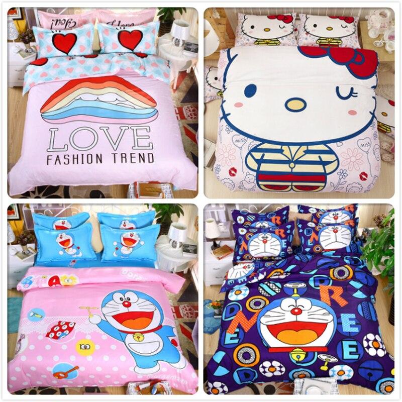 Kitty Doraemon Print Kids Single 3pcs 4 pcs Bedding Set Bedlinen Double Twin Queen Size Duvet 1.5m 1.8m 2m Flat Sheet Bedclothes