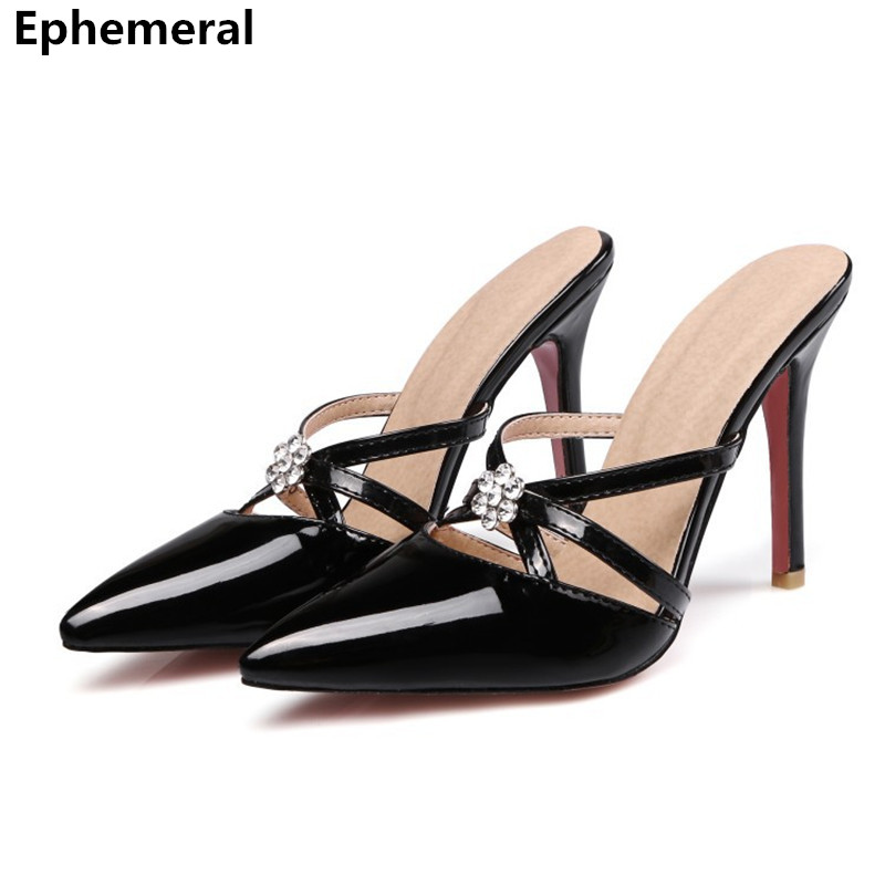 Ladys extreme High heel slipper with rhinestone red bottoms Pointy Toe Women summer sandals For Party black slides big size 47