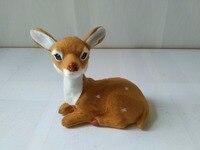 Simulation Prone Sika Deer Model Polyethylene Faux Furs 12x8x13cm Deer Handicraft Figurines Prop Home Decoration Toy