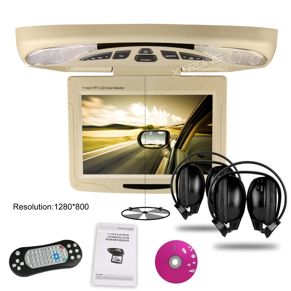 XTRONS Beige11.3Digital car Monitor Flip down Car Roof DVD Player Overhead car Ceiling Monitor USB FM Game Disc +2 IR Headphone