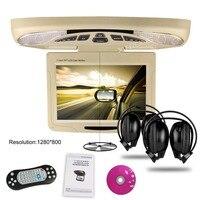 Xtrons beige11.3 Цифровой автомобиль Мониторы опускающийся крыше автомобиля dvd плеер накладные автомобиля потолок Мониторы usb fm диск с игрой + 2 ИК