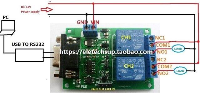 2 Kanal serielle schnittstelle Relaismodul DC 12 V PC Computer USB ...