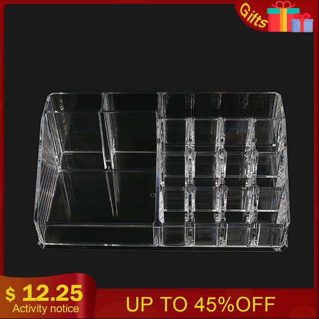 16 Holes Acrylic Tattoo Ink Cup Clear Crystal Lipstick Jewelry Box Makeup Pigment Cups Caps Storage Container Rack Holder Stand