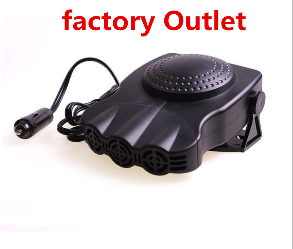 Portable 12V 150W Black Car Heater Cooler fansThree Vents Vehicle Warmer Cigarette Lighter Powered Defrosted Demisted Car Heater