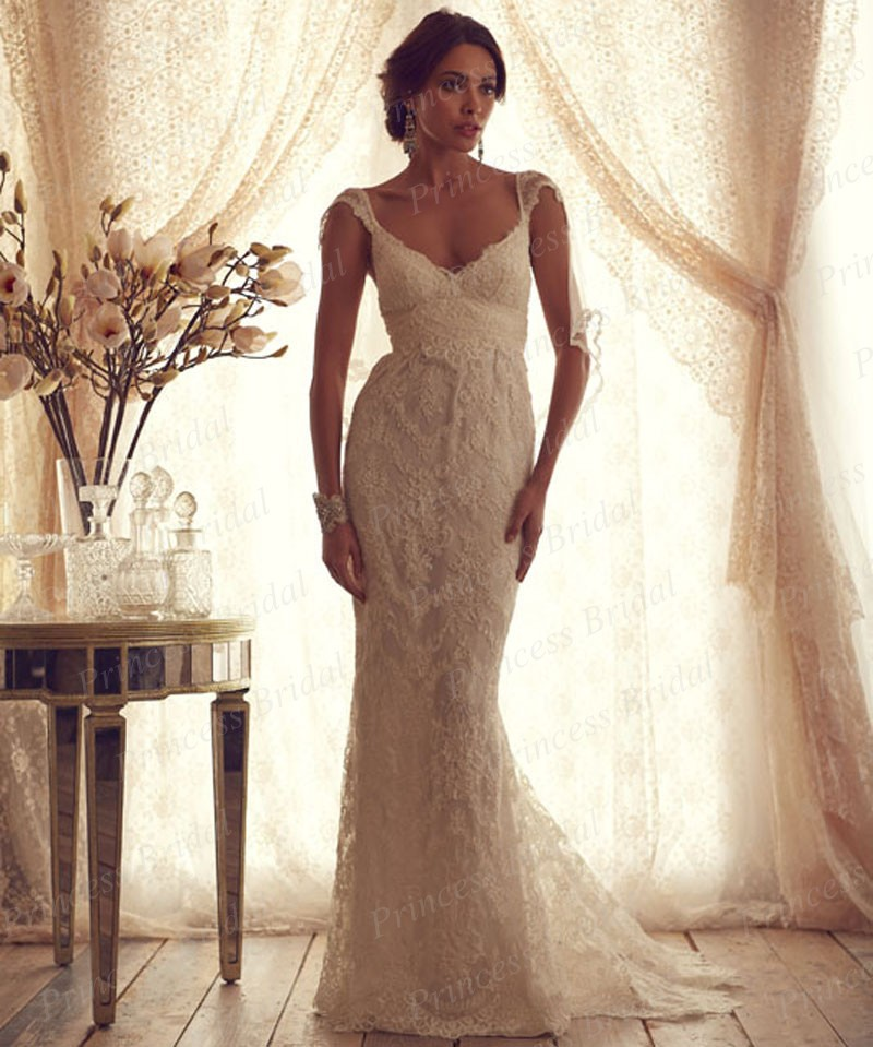 2015 Best Price Wedding Gown Amazing Design V Neck Full Lace Sweep ...