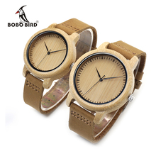 BOBO BIRD WA15L19 Women Watches Bamboo Wooden Watch Real Leather Band Quartz Watch As Gift For Ladies Accept OEM Relogio
