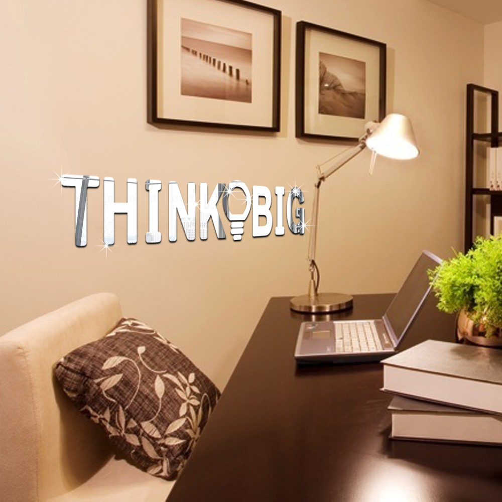 Home Decal Family 3D Mirror Wall Sticker Lettering Words