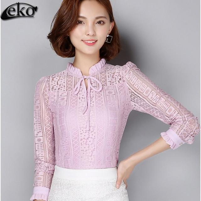 2558201275 As mulheres Atam Blusas 2016 Outono Coreano Moda Manga Longa Elegante  Mulheres Blusa Chiffon Rendas Camisa
