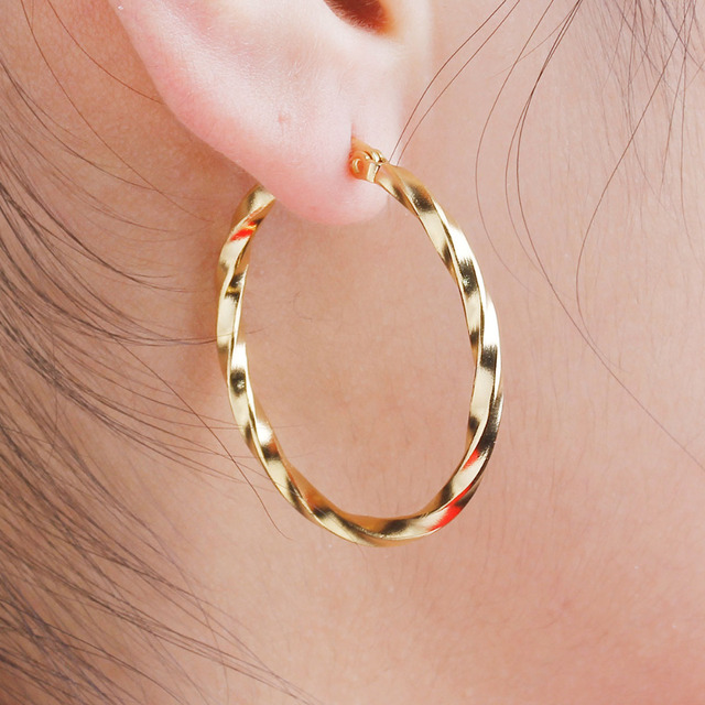 DoreenBeads Girls Women Earrings 304 Stainless Steel Hoop Earrings Gold color Tw