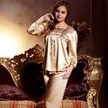 XIFENNI Marca Mulheres Pijamas De Seda De Cetim Ouro Twinset Conjuntos De Pijama De Seda de Imitação de Alta Qualidade Bordado Sleepwear Pijama 1204