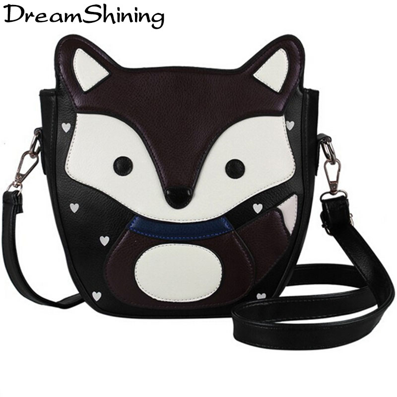 DreamShining New Lovely Cartoon Fox Women Messenger Bags Top Quality Sweet Women Pu Leather Handbags Campus