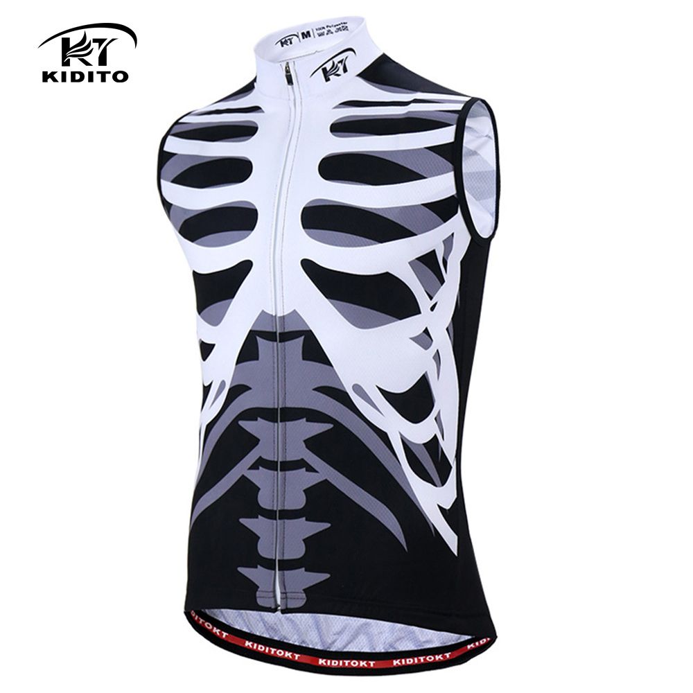 KIDITOKT Skeleton Printing Cycling Jersey Sleeveless 208 Pro Men Bicycle  Clothing Summer Men Quick Dry Polyester Sportwear-in Cycling Jerseys from  Sports ... ade2b555f