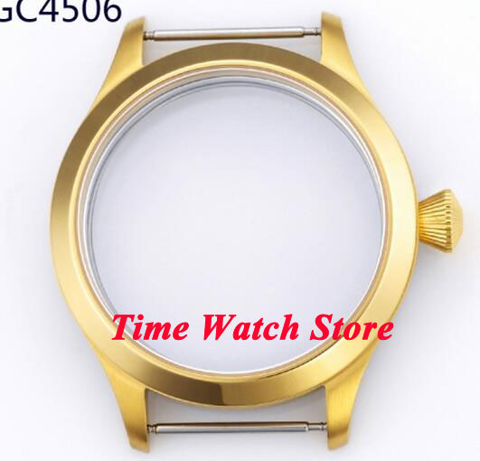 45mm fit 6497 6498 movement golden plated 316L stainless steel sapphire glass watch case C50 все цены