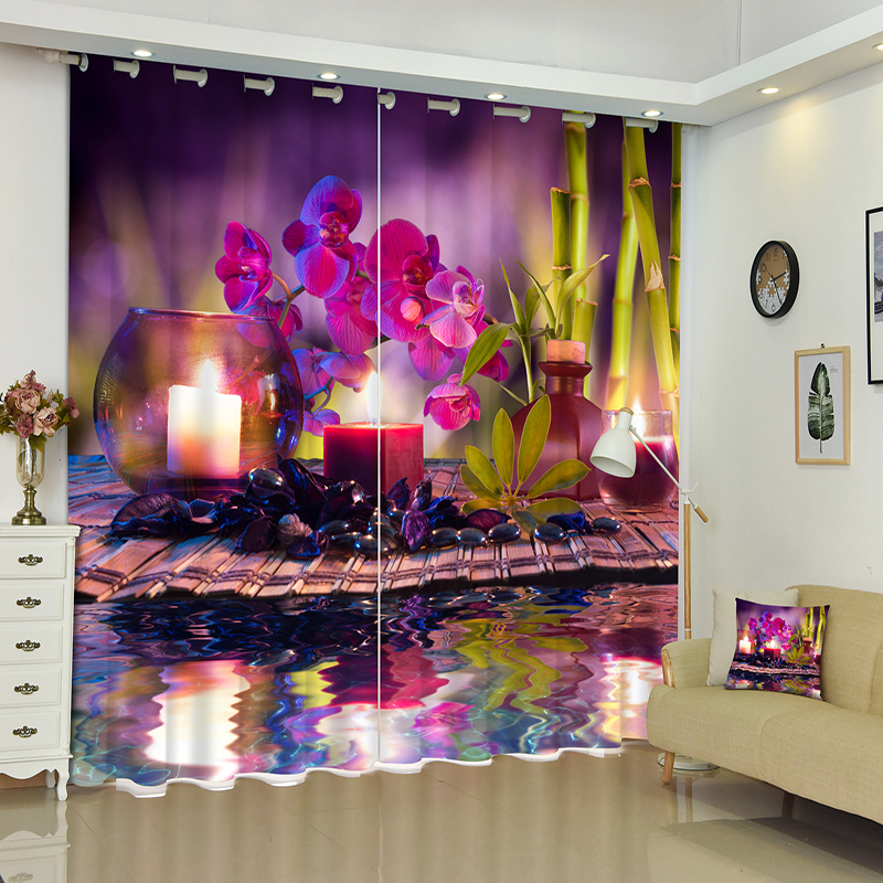 Free shipping 3D Blackout Curtains Cartoon Warm Purple Flowers Candles Pattern Non Fading Fabric Window Curtains