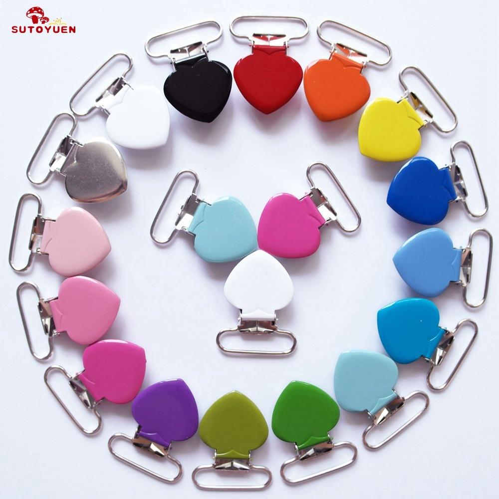 1'' 25mm Metal Clips for Suspender Belt Pacifier Clips Heart Enamel Suspender Clip Wholesale 50 Pcs Mix 16 Colors SUTOYUEN