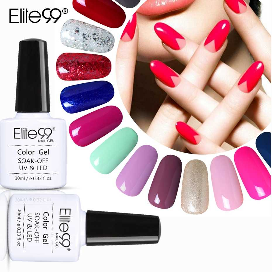 Elite99 10ml esmalte de uñas de Gel uv puros del Color de uñas de Gel pulido Vernis Semi permanente base para uñas de Gel de barnices laca de Gel para remojo