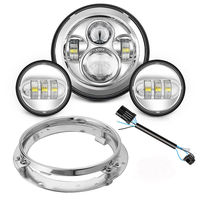 7inch Round Projector LED Headlight Conversion Kit&4.5inch LED Fog Lights for Harley Davidson Ultra Classic Electra Street Glide