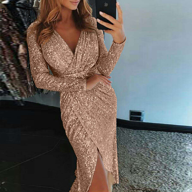 Aliexpress.com : Buy Bonnie Forest Sparkle Sequins Wrapped Ruched ...