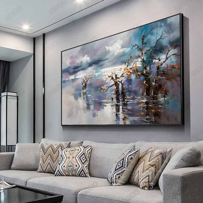 100 Hand Painted Abstract Scenery Art Oil Painting On Canvas Wall Art Wall Adornment Pictures Painting For Live Room Home Decor in Painting Calligraphy from Home Garden