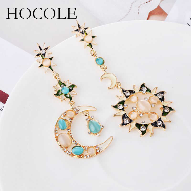 HOCOLE Irregular Rhinestone Sun Moon Drop Earrings Pendant Crystal Asymmetry Long Dangle Earrings For Women Wedding Jewelry