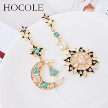 Hot sale Fashion Star Sun Moon Rhinestone Earrings Pendant Crystal Stud Dangle Asymmetry for women Charms Jewelry
