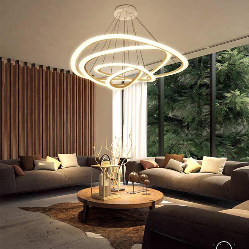 Restaurant Bar Dining Room Kitchen Room Chandeliers Modern Led White Color Auminum Body Hanging Pendant Chandeliers