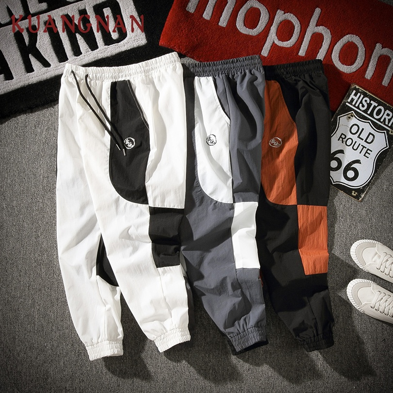KUANGNAN Patchwork Pants Trousers Men Men Joggers New Hip-Hop 5XL Embroidery