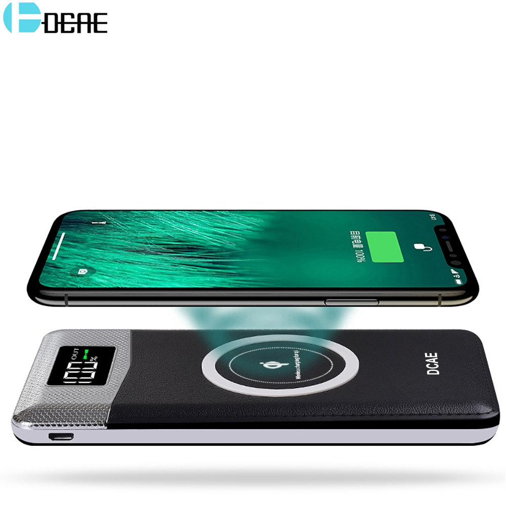 DCAE 10000mAh Power Bank Qi Wireless Charger Mobile Phone for iPhone X 8 Plus for Samsung S8 S9 Xiaomi Portable External Battery